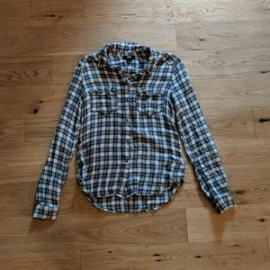 Paige Flannel Blue Green White Plaid XS